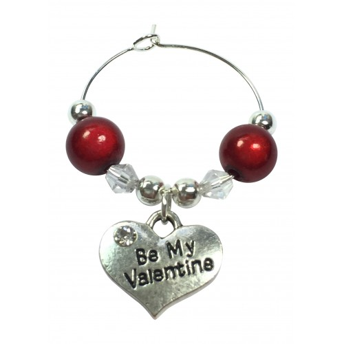 Be My Valentine - Valentine's Day Wine Glass Charm With Gift Card