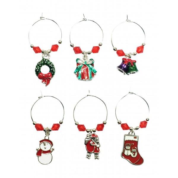 christmas wine glass charms - Christmas Wine Charms